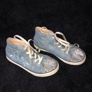 Denim sneakers with glitter and butterfly details